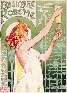 Lettering.    By Privat-Livemont. From Wikipedia. 740px-Privat-Livemont-Absinthe_Robette-1896.jpg (740×1024)