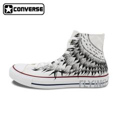 0a1813b01068 Men Women s Converse All Star Wings Original Design Sneakers Man Woman Hand  Painted Shoes High Top