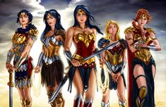 Wonder Women by penichet. From left to right: Hippolyta, Donna Troy, Diana, Cassie, and Artemis. Wonder Woman Art, Wonder Woman Comic, Wonder Women, Comic Book Characters, Comic Book Heroes, Comic Character, Comic Books, Cassie Sandsmark, Batman Y Superman
