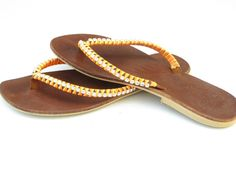 Brown leather Swarovski sandals SALE Women Flip Flops - Women Leather  Sandals - BOHO sandal - Handmade Sandal - Greek Sandal - Flat Sandal