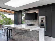 kitchen-design-natural-stone-benchtop-liebherr-zip-tap-gaggenau-premier-kitchens-australia-3 Kitchen Units, Old Kitchen, Kitchen Items, Stone Benchtop Kitchen, Island Design, Strip Lighting, Cool Kitchens, Kitchen Remodel, Kitchen Design