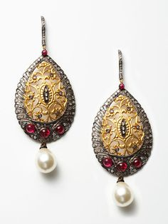 Diamond and Pearl gold earrings by Bochic on Gilt.com
