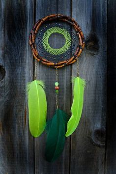 Medium Green Brown bamboo dreamcatcher.