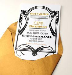 Birthday Party Invitation  1920's Art Deco by WeddingMonograms