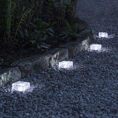 white solar path light by Garden Path Lighting, Landscape Lighting, Led, Solar Path Lights, Brick Works, Solar Light Crafts, Glass Brick, Lawn Edging, Garden Projects