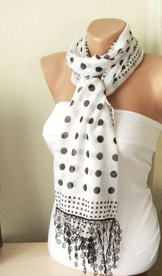 MOTHER'S DAY 25% SALE - Scarf White Black Dotted design with lace $13.50