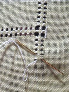 Hemming with drawn thread work - DIY hand hemstitched linen handkerchiefs - would be good for a small embroidery project on a corner Hardanger Hemstitched Linen - how to hand sew a decorative edge on linen - via Little House on the Suburbs It's a handk Hardanger Embroidery, Hand Embroidery Stitches, Embroidery Techniques, Ribbon Embroidery, Sewing Techniques, Cross Stitch Embroidery, Embroidery Patterns, Cross Stitch Patterns, Loom Patterns