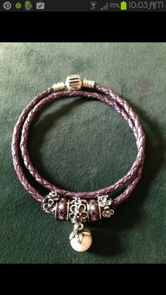 PANDORA Pink Double Leather Bracelet with Pretty Pearl Dangle and Enamel Charms :-)