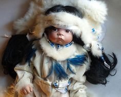 """America American Indian Baby Doll Ceramic Head Hands Cloth Body Life Size 21"""" 