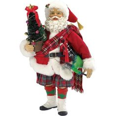 Kurt Adler Fabriche Musical Scotland Santa Figurine