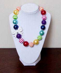 Rainbow Girls Chunky Bubblegum Necklace with by NotesbySherryLLC