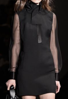 Black dress with sheer sleeves; runway fashion details // Costume National Fall 2015