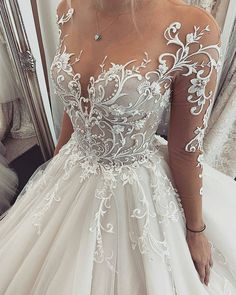 Chic Tulle Jewel Neckline Ball Gown Wedding Dresses With Lace Appliques & Beadings Hochzeitskleid 2019 Hochzeitskleid 2019 NEW! Chic Tulle Jewel Neckline Ball Gown Wedding Dresses With Lace Appliques & Beadings Hochzeitskleid 2019 Top Wedding Dresses, Wedding Dress Trends, Bridal Dresses, Bridesmaid Dresses, Wedding Ideas, Wedding Decorations, Prom Dresses, Evening Dresses, Formal Dresses
