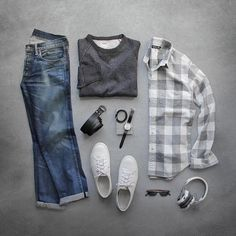 Outfit grid - Checkered shirt & jeans ✤ #stylefromachitownerseye