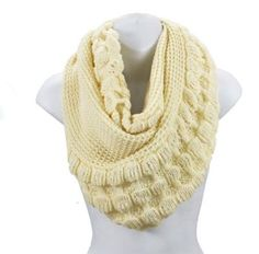 Thick Knit Infinity Scarf - Dual Texture - Bubble Knit - Large Size:Amazon:Sports & Outdoors