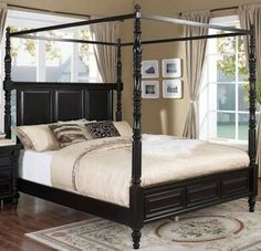 Martinique, Martinique Eastern King Canopy Bed W/ Drapes, Dining Room Table  Sets, Bedroom Furniture, Curio Cabinets And Solid Wood Furniture   Model    Home ...