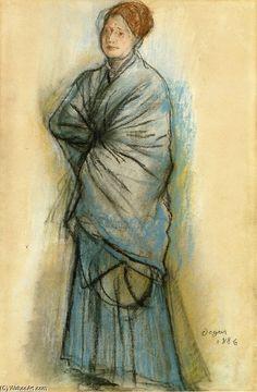 edgar degas drawings | Edgar Degas >> Woman in Blue (aka Portrait of Mlle. Helene Rouart ...