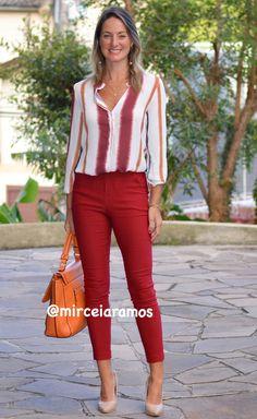 Look de trabalho - look do dia - look corporativo - moda no trabalho - work outfit - office outfit -  spring outfit - look executiva - look de verão  - summer outfit - calça marsala - camisa estampada - bolsa laranja