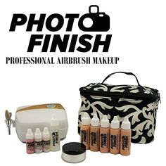 Amazon.com : Photo Finish Professional Airbrush Cosmetic Makeup System Kit / Fair to Medium Shades 5pc Foundation Set with Blush, Concealer, Shimmer, Primer and Silica Finishing Powder (Matte Finish) : Beauty