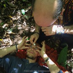 Placing Sananga in the eyes during a Kambo Ceremony.