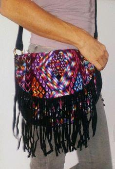 Huipil Oval Leather Fringe Bag