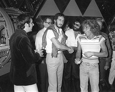 Singer Roger Daltrey, guitarist Pete Townshend and drummer Keith Moon of the rock and roll band 'The Who' attend the release party for their album 'Who Are You' on August 9, 1978 in Los Angeles, California.