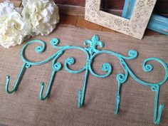 Fleur De Lis Metal Decor,Bathroom Hook,Five Hook,Metal Wall Hook,Painted Coat Rack,French Country,Shabby Chic Decor, Cast Iron Wall Hook on Etsy, $25.00
