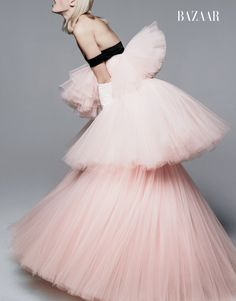 Model wears Giambattista Valli Haute Couture Gown and Gloves