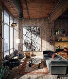 Loft Design, House Design, Warehouse Living, Brick Interior, Industrial Home Design, Brick Loft, Loft Interiors, Lofts, Loft Spaces