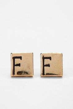 Urban Outfitters - Diament Jewelry for Urban Renewal Vintage Square Initial Stud Earring