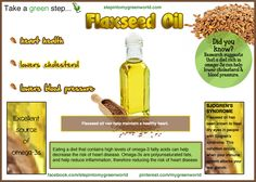 ☛ Do you use Flaxseed oil?  It is a great source of Omega-3 fatty acid which can help decrease your risk of heart disease.  At a glance:  ❥ Lowers bad LDL Cholesterol  ❥Helps with Blood pressure   ❥ Reduces risk of heart disease  Use on salads and as you would any oil.  ✒ Share | Like | Re-pin | Comment