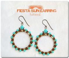 #DIY #PAP #esquema Fiesta Sun Earrings  ERIN SIEGEL- contas de 6mm + contas de 4mm + 2 argolas grandes + fio de linho - loja Ornamentea
