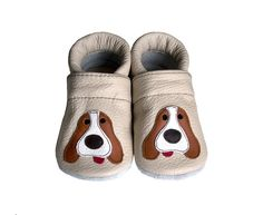Leather Baby Booties Dog Baby Shoes  Infant Newborn by Hopphopp, $21.00
