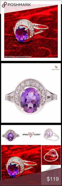 ⭐️⭐️ STERLING SILVER AMETHYST & WHITE CZ RING NEW WITH TAGS  RING STERLING SILVER AMETHYST & WHITE CZ   * Brilliant sparkle   * Prong set oval amethyst & pave white CZ halo split shank ring   * A true statement piece   * Approx 13mm ring face   * Sterling silver setting    * Genuine CZ diamonds    * Box included    MATERIAL: Sterling silver, amethyst, 1.70 ctw, cubic zirconia (CZ)     COLOR: Purple       Item#  No Trades - Offers Considered  Key search words# pastel lilac violet glam…