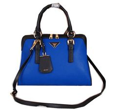 Prada Calfskin Leather Tote Bag BN1093 Blue - $259.00