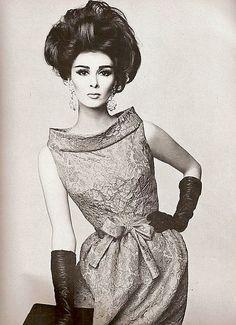 Pierre Cardin    Model Wilhelmina Cooper wearing Pierre Cardin.Vogue,December 1962