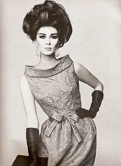 Pierre Cardin    Model Wilhelmina Cooper wearing Pierre Cardin.Vogue,December 1962