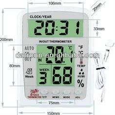 Electronic Digital thermometer and humidity meter KT203