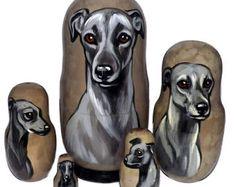 Italian Greyhound on Five Russian Nesting Dolls. Dogs. Gray.