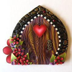 Red Heart Valentine Fairy Door Pixie Portal by Claybykim on Etsy