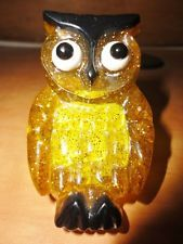 Vintage 70's Mod Acrylic Lucite Owl Plug-In Night Light Yellow-- Works