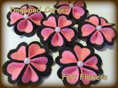 Felt Flowers  Felt Appliques  6pc. Pink and Black by Dogwoodcorner, $5.25