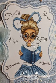 SKIN E33, E11, E21, E00 HAIR E50, E53, E43, E57, E49 SKIRT B97, B95, B93 BOOK B99, B97, B95 Added sparkle with Copic Spica Baby Blue glitter pen.