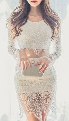 drapey crochet lace 2-piece crop top and skirt set
