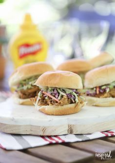 These Pulled Pork Sliders with Sweet Mustard Marinade are a delicious summer meal. #sliders #pulled #pork #mustard