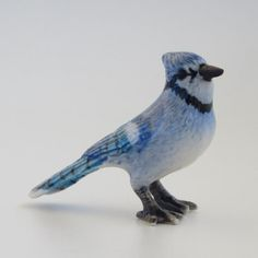 Porcelain Animal Necklace  Blue Jay Pendant with by mogoandco, $25.00