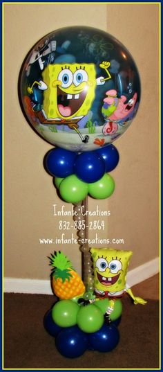 Photo by cinfante. Spongebob Birthday Party, 3rd Birthday Parties, Birthday Balloons, 2nd Birthday, Birthday Stuff, Birthday Ideas, Birthday Centerpieces, Balloon Centerpieces, Balloon Decorations