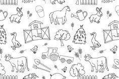 Doodle pattern farm by Netkoff on Creative Market