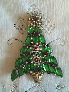 Stanley Hagler vintage large 4 inch Christmas tree pin