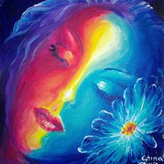 Sleeping muse with blue flower, acrylics on canvas portrait painting